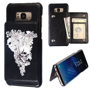 Insten Black Skull Wing Flip Wallet Hard Snap-on Leatherette Case Cover with Card Slot For Samsung Galaxy S8