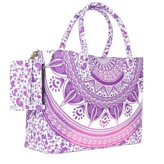 Pink Colored Sassy Mandala Beach Bag