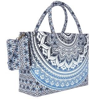 Blue Black Sufficiently Colored mandala Beach Bag
