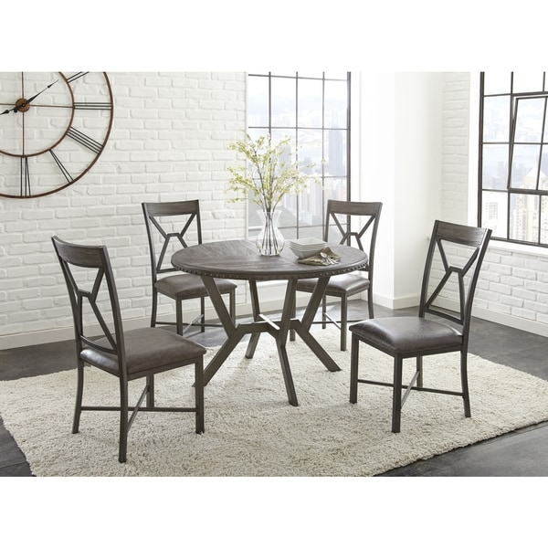 Asbury Grey Faux Leather And Metal 5 Piece Round Dinin.
