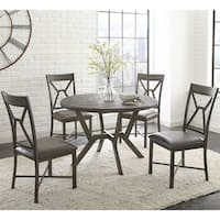 Asbury Grey Faux Leather and Metal 5-piece Round Dining Set  by Greyson Living