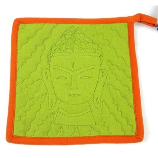 Handmade Buddha Hot Pad in Green and Orange (Nepal)