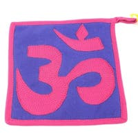 Handmade Om Hot Pad in Pink and Purple (Nepal)