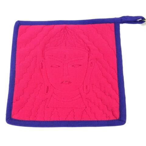 Handmade Buddha Hot Pad in Pink and Purple (Nepal)