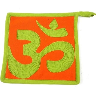 Handmade Om Hot Pad in Green and Orange (Nepal)