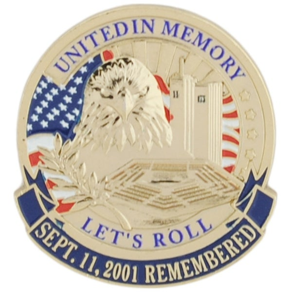 USA 911 United In Memory Let's Roll War On Terror Lapel Pin