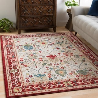 William Ivory and Red Rustic Vintage Area Rug - 3' x 5'
