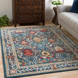 William Blue Rustic Vintage Area Rug - 3' x 5'