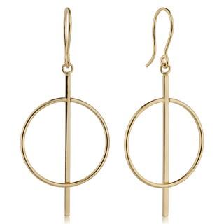 """Fremada Italian 14k Yellow Gold Bar Circle Drop Earrings, 1.7"""""""