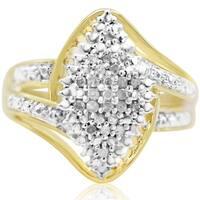 1/4 Carat Diamond Cluster Ring In Yellow Gold Over Brass - White J-K