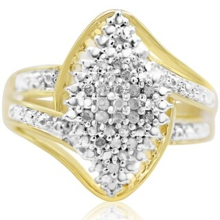 1/4 Carat Diamond Cluster Ring In Yellow Gold Over Brass - White J-K