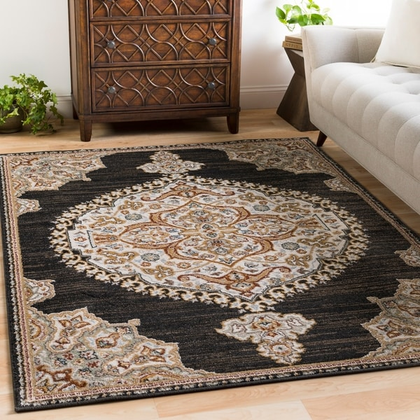 shop pabst vintage medallion black area rug 5 39 3 x 7 39 3 on sale free shipping today. Black Bedroom Furniture Sets. Home Design Ideas