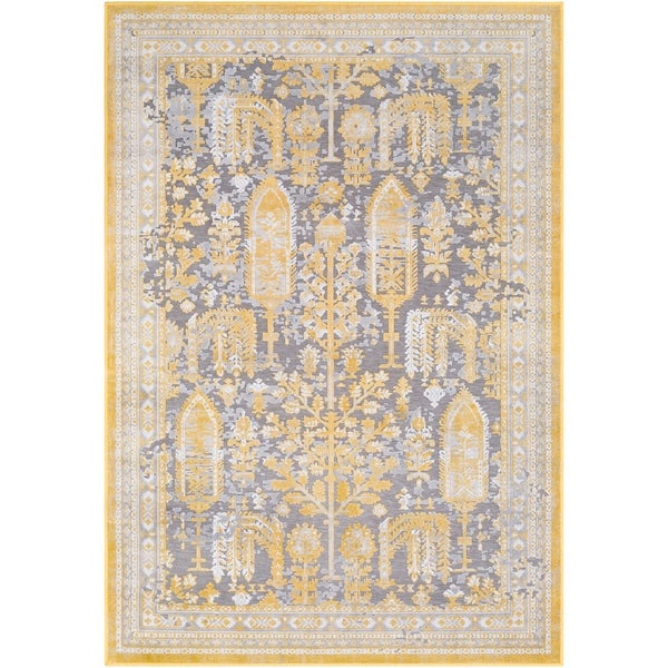 "Carbey Vintage Damask Bright Yellow Area Rug - 5'3"" x 7'3"""