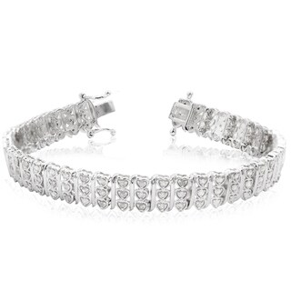 Sterling Silver 1 Carat Diamond Heart Tennis Bracelet, 7 Inches - White J-K
