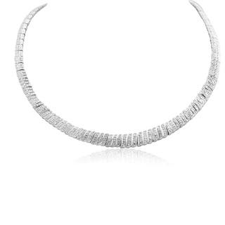 1 Carat Diamond Graduated Collar Necklace In Platinum Over Brass, 16 Inches - White J-K|https://ak1.ostkcdn.com/images/products/17095470/P23366377.jpg?impolicy=medium