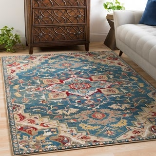 "Morris Blue & Red Vintage Medallion Area Rug - 5'1"" x 7'4"""