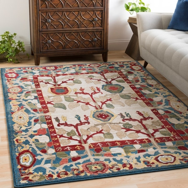 "Sylvia Ivory & Blue Vintage Tree of Life Area Rug - 5'1"" x 7'4"""