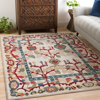 "Sylvia Ivory Vintage Tree of Life Area Rug - 5'1"" x 7'4"""