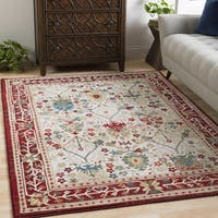 "William Ivory and Red Rustic Vintage Area Rug - 5'1"" x 7'5"""
