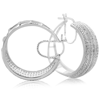 2 Carat Five Row Diamond Hoop Earrings In Platinum Over Brass, 1 1/2 Inches - White J-K