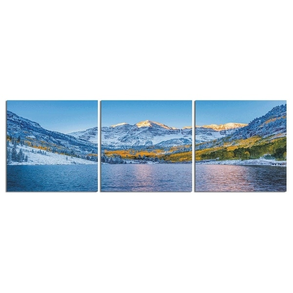 "Elementem Photography: ""Maroon Bells, Colorado"" Photography Print 3-Panel Panoramic Wall Art"