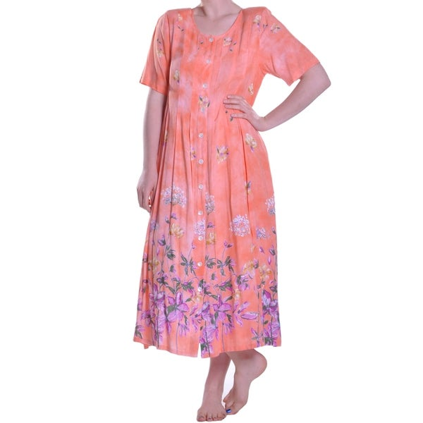 La Cera Women's Floral Printed Button-Up Dress