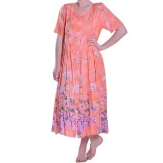 La Cera Women's Floral Printed Button-Up Dress