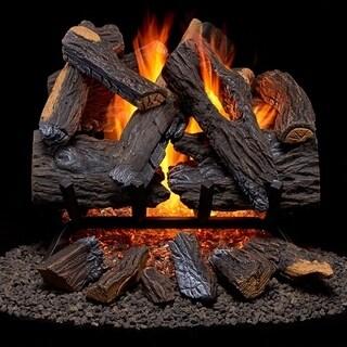 Duluth Forge Vented Natural Gas Fireplace Log Set - 18 in., 45,000 BTU, Heartland Oak