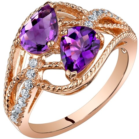 Oravo 14K Rose Gold Two Stone Amethyst Ring Pear Shape 1.25 Carats