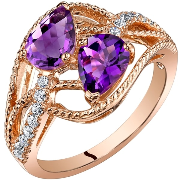 Oravo 14K Rose Gold Two Stone Amethyst Ring Pear Shape 125 Carats