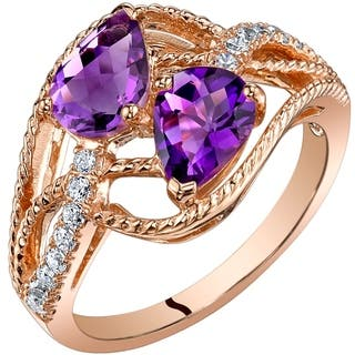 Oravo 14K Rose Gold Two Stone Amethyst Ring Pear Shape 1.25 Carats|https://ak1.ostkcdn.com/images/products/17095857/P23366799.jpg?impolicy=medium