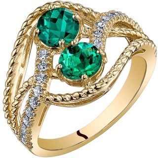 Oravo 14K Yellow Gold Two Stone Created Emerald Ring 1.00 Carats