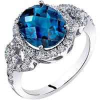 Oravo 14K White Gold London Blue Topaz Ring Oval Checkerboard Cut 3.00 Carats