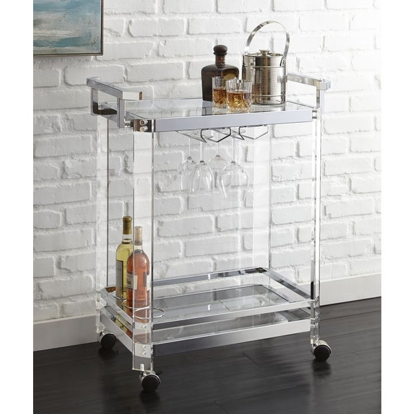 Alba Acrylic Server Cart by Greyson Living - 35 inches high x 29 inches wide x 17 inches deep. Opens flyout.