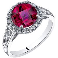 Oravo 14K White Gold Created Ruby Galleria Ring 2.50 Carats