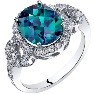 Shop Oravo 14k White Gold Created Alexandrite Ring Oval