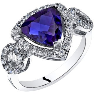Oravo 14K White Gold Created Sapphire Ring Trillion Cut 2.50 Carats