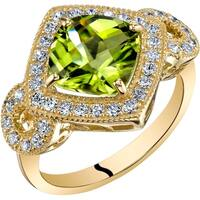Oravo 14K Yellow Gold Peridot Ring Cushion Cut 2.50 Carats