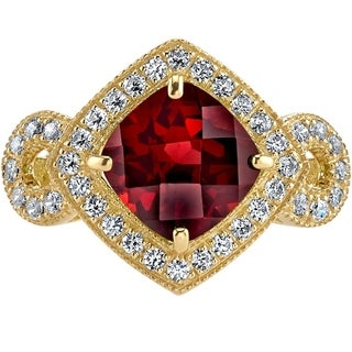 Oravo 14K Yellow Gold Garnet Ring Cushion Cut 2.50 Carats