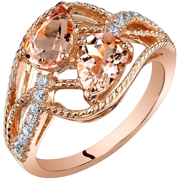 5510babbebd5d Oravo 14K Rose Gold Two Stone Morganite Ring Pear Shape 1.50 Carats