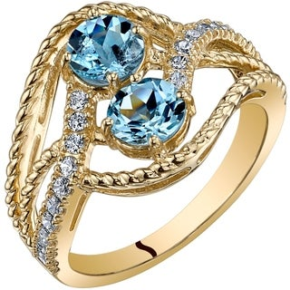 Oravo 14K Yellow Gold Two Stone Aquamarine Ring 1.00 Carats