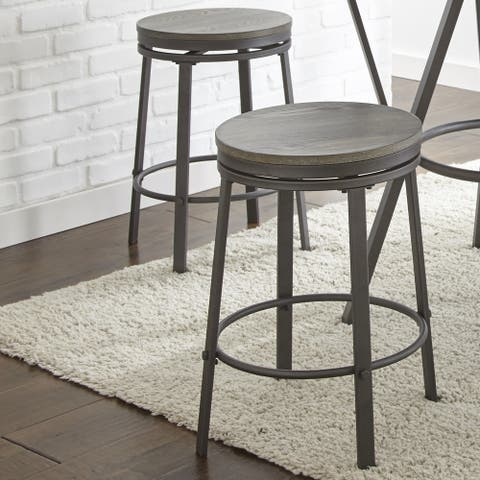 Perry Industrial Style Counter Height Swivel Stool by Greyson Living (Set of 2)