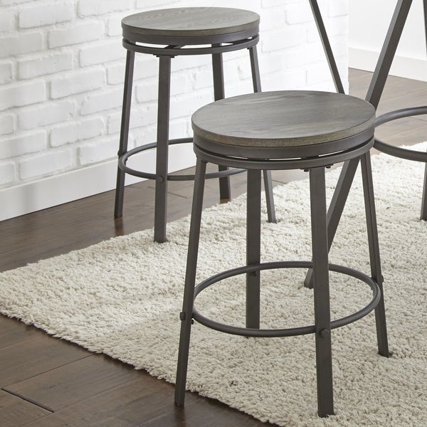 Perry Industrial Style Counter Height Swivel Stool (Set of 2) by Greyson Living