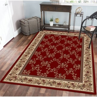 Virginia Trellis Red Area Rug (5'5 X 7'7) - 5'5 x 7'7