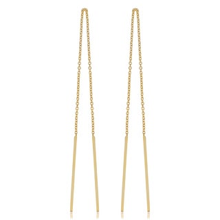 Fremada Italian 14k Yellow Gold Threader Bar Earrings