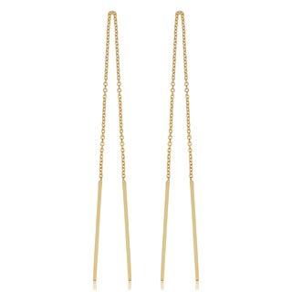 Fremada Italian 14k Yellow Gold Threader Bar Earrings