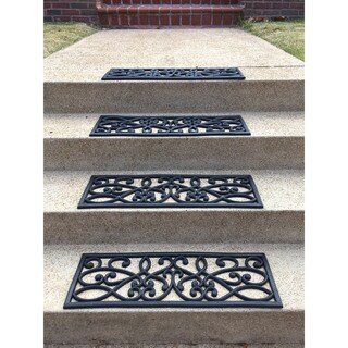 """AmeriHome Rubber Scrollwork Stair Tread 4 Pack (30"""" x 9"""")"""
