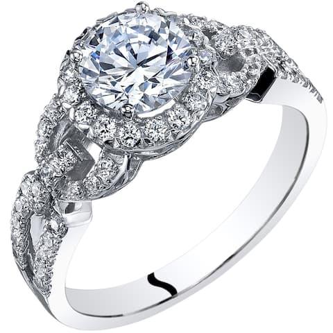 Oravo 14K White Gold Cubic Zirconia Engagement Ring 1.00 Carat