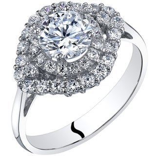 Oravo 14K White Gold Cubic Zirconia Engagement Ring 1 00 Carat Cluster Style