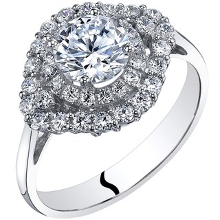 Oravo 14K White Gold Cubic Zirconia Engagement Ring 1.00 Carat Cluster Style (More options available)